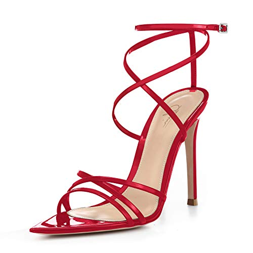 Women Ankle Strap Stilettos High Heels Criss Cross Sandals Open Toe Bridal Wedding Evening Dress Casual Party Shoes (12, - Red Heels Toe Pointed Patent