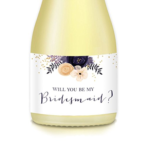 - Will You Be My? MINI CHAMPAGNE BOTTLE LABELS Bridal Party Proposal Maid Matron of Honor Bridesmaid Mini Champagne or Wine Bottle Stickers, Wedding Attendant Gift Boxes, Bags, Favors 3.5