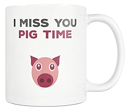 Amazon.com | I Miss You Pig Time Coffee Mug - Funny Quote ...