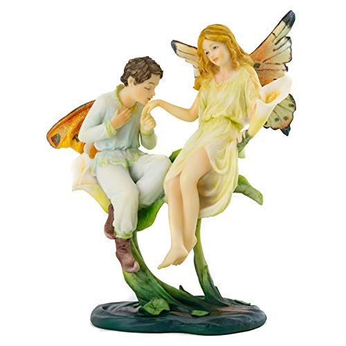 Top Collection Fantasy Fairy Lovers on Calla Lily Statue - Hand Painted Enchanted Mythical Creature Sculpture - 6.75-Inch Cute Flower Pixie Figurine