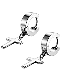 Flongo Men's Womens Vintage Stainless Steel Cross Dangle Hinged Hoop Earrings, Stainless Steel Hoop Huggie Earrings Cross Drop Dangle Earrings