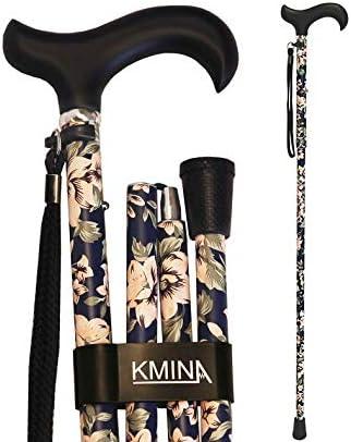 KMINA - Bastones plegable para mayores, Bastones para ancianos, Baston plegable mujer/hombre, PRO Flores Azules Plegable
