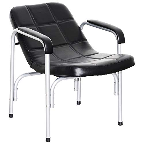 BarberPub Shampoo Chair Comfort Curve Hair Barber Beauty Salon Steel Frame Equipment 7011 Black (Recline Shampoo Chair)