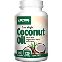 Jarrow Formulas Coconut Oil 100% Organic  Extra Virgin, Supports Cardiovascular Health, 1000 mg, 120 Softgels