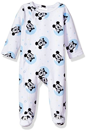 Disney Baby Boys' Mickey Mouse Velour Footie Sleeper, White, 3-6 Months Infant Baby Boys Velour Coverall