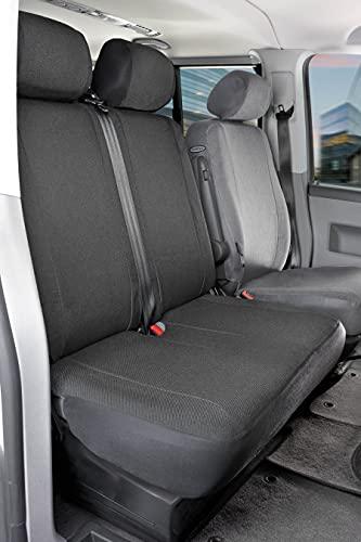 WALSER 10456 Autostoelhoes Transporter Fit, Auto Stoelbekleding van stof antraciet geschikt voor VW T5, Dubbele Bank…