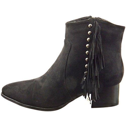 Sopily - Zapatillas de Moda Botines cavalier Tobillo mujer tachonado fleco Talón Tacón ancho 4.5 CM - Negro