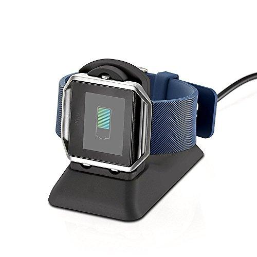 Kartice para los accesorios del soporte de carga del cargador Fitbit Blaze, estación de carga del muelle Fitbit Blaze Soporte para la base de la horquilla Clip de carga Cable de soporte de plástico premium para el reloj inteligente Fitbit Blaze - Negro