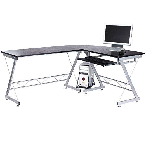 Tenive Ergonomic Corner Office Computer Desk Workstation -L Shaped Computer Desk Home Furniture, 67' Black