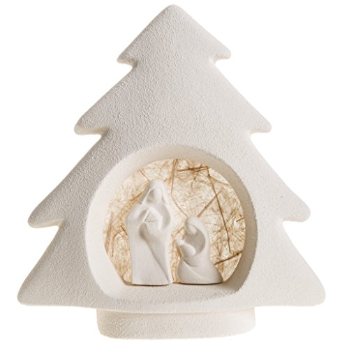 Holyart Nativity scene, tree shaped wall nativity in clay, beige Clay Nativity Set
