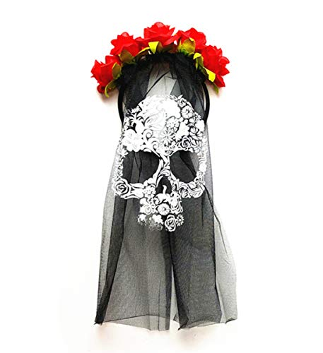 Mozlly Day of The Dead Skull Veil Black Headpiece w/ Red Flowers Mask Halloween Costume Scary Wedding Veil Outfit Horror Dress Up Masquerade Ghost Face Accessory 14.75