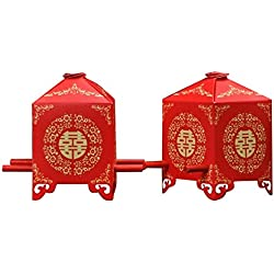 Zcargel Hot Sale Chinese Traditional Red Bridal Sedan Chair Style Wedding Bridal Shower Favor Candy Gift Boxes