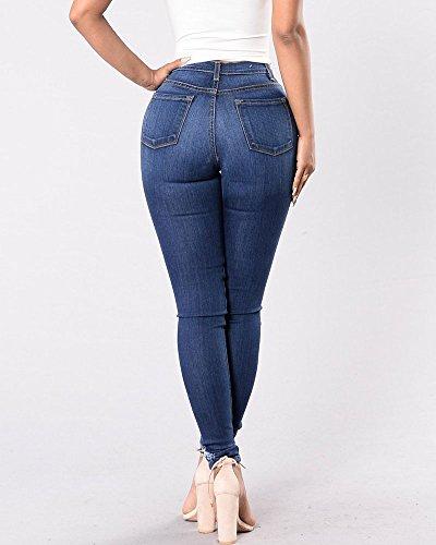 Blumx Sottile Jeans Matita A Vita Stretch Media Donna Strappati Y8vqwOwp