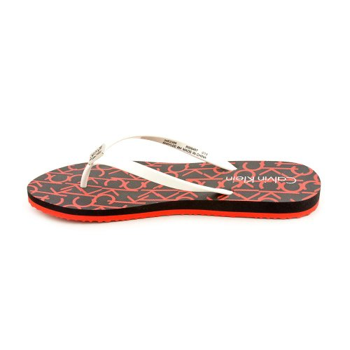 Calvin Klein Women's Shaylin Thong Sandals in White / Red Size 6