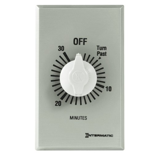 Intermatic FF30MC 30-Minute Spring Wound Countdown Wall Timer, Brushed Metal - Decorator Spring Wound Wall