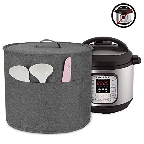 Luxja Dust Cover for 8 Quart Instant Pot, Cloth Cover with Pockets for Instant Pot (8 Quart) and Extra Accessories, Gray (Large)