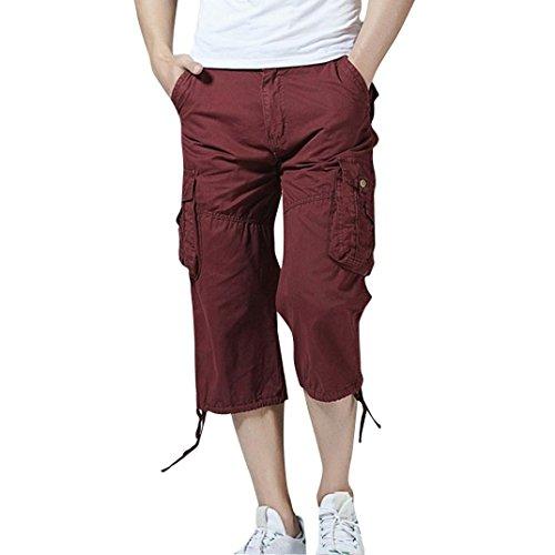 Faionny Mens Trouser Shorts Jeans Casual Pure Color Outdoors Pocket Beach Work Trouser Cargo Shorts Pant by Faionny