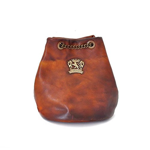 Pratesi Womens [Personalized Initials Embossing] Italian Leather Pienza Bag in Cow Leather in Brown by Pratesi