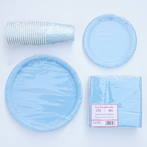 Color Coordinated Ready To Go Paper Party Pack for All Events (20 Guest Set - Light Blue)