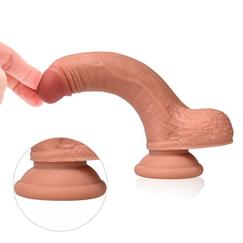 Realistic Dildo for Beginners with Flared Suction Cup Base for Hands-free Play,Fake Penis Adult Sex Female Massage Masturbation Toys(felsh)
