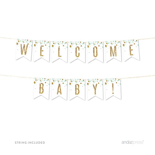 Andaz Press Mint Green Gold Glitter Boy Baby Shower Party Collection, Hanging Pennant Party Banner with String, Welcome Baby!, 5-Feet, 1 Set
