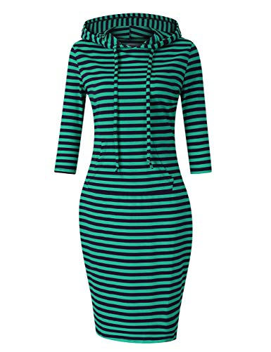 MISSKY Stripe Green Dresses for Women Pocket Knee Length Sweatshirt Casual Pullover Hoodie Dress (XS, Blue&Green 87#) (Best Brands For Ladies Dresses)