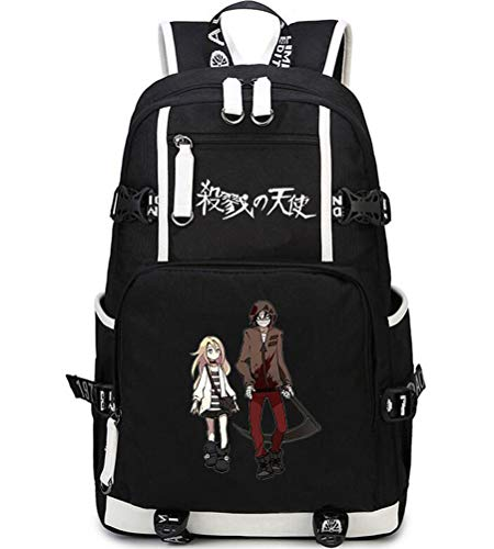 DOUJIONG Cosplay Anime Angels of Death Rachel/Zack Fashion Travel Shoulder Bag Unisex Backpack School Bag (Angels of Death, Black3)