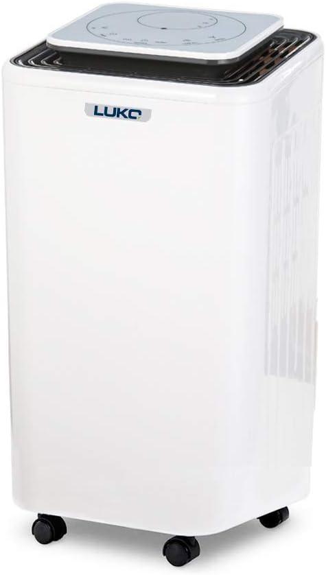 LUKO 12L déshumidificateur avec contrôle de l'humidité et minuterie, portable,silencieux et électrique, 2L réservoir avec tuyau,séchage et purificateur d'air pour maison,chambre,salle de bain,sous-sol