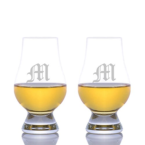Personalized Crystal Glencairn Nosing & Tasting Whiskey Scotch Glass 2pc. Set Engraved & Monogrammed - Great For Groomsmen of Father of the Bride Gift!