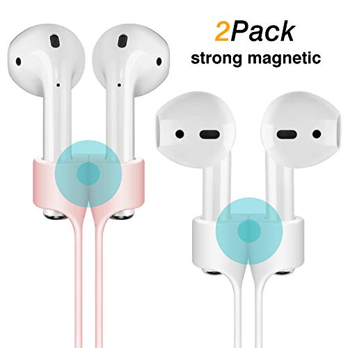 Cuauco [2 Pack] Magnetic Adsorption Anti-Lost Strap Compatible with Apple Airpods 1&2 Sport Protective Silicone Lanyard for Apple Airpods 1&2 Wireless Headphone (White + Pink)