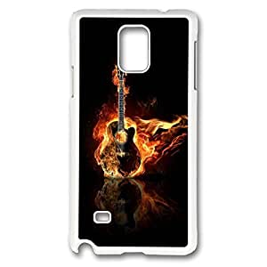 Galaxy Note 4 Case, Creativity Design Hot Guitar Print Pattern Perfection Case [Anti-Slip Feature] [Perfect Slim Fit] Plastic Case Hard White Covers for Samsung Galaxy Note 4