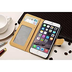 Fashionable Fashion Leather Full Body Case with Wallet and Card Slot and Stand for iPhone 6 Plus Phone Cover ,Color: Black