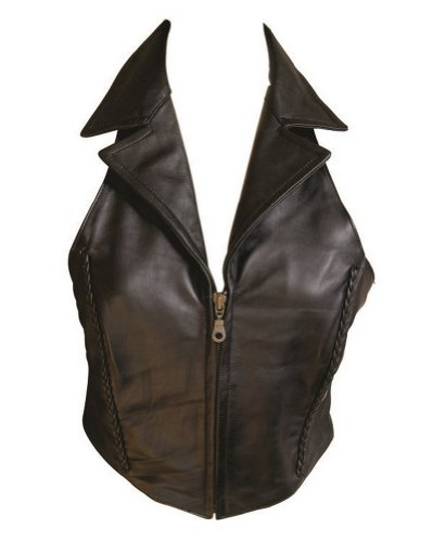(Ladies Lambskin Leather Halter Top / Vest W/Braid & Collar)