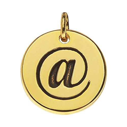 Symbol Charm Gold Plated - Beadaholique Lead-Free Pewter, Round Symbol Charm at Sign '@' 13mm, 1 Piece, Gold Plated
