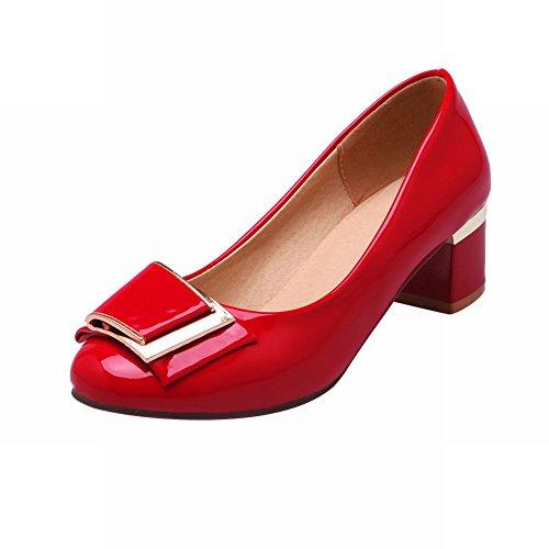 Latasa Femmes Mode Mi Chunky Talon Chaussures Décontractées Chaussures Rouge