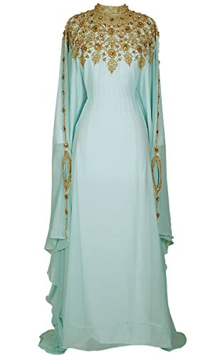Covered Bliss Athena Kaftan For Women -Long Sleeve Maxi Dress, Gown Formal Lounge Wear (Sea Green) (Melbourne Green Store)