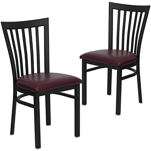 Flash Furniture 2 Pk. HERCULES Series Black School House Back Metal Restaurant Chair - Burgundy Vinyl Seat