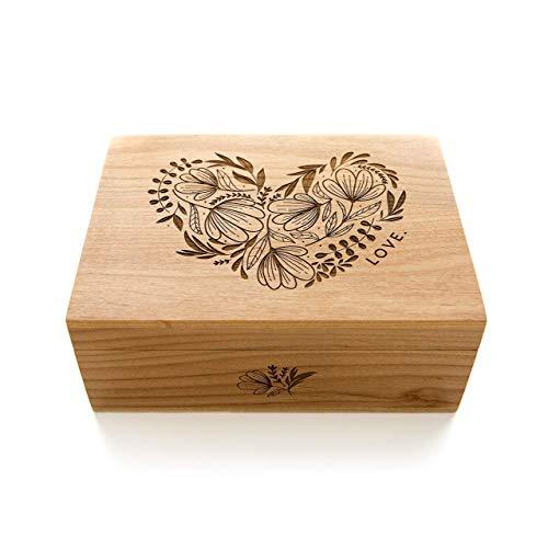 Woodblock Heart Laser Cut Wood Keepsake Box (Valentine's Day/Wedding Gift / 5th Anniversary/Love/Heirloom/Handmade)
