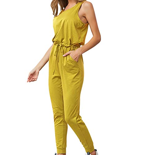 QIQIU Womens Sexy Loose Sleeveless Solid Lace-up Pockets Summer O-Neck Jumpsuit Leisure Slim Fit Pencil Bodysuits Yellow -