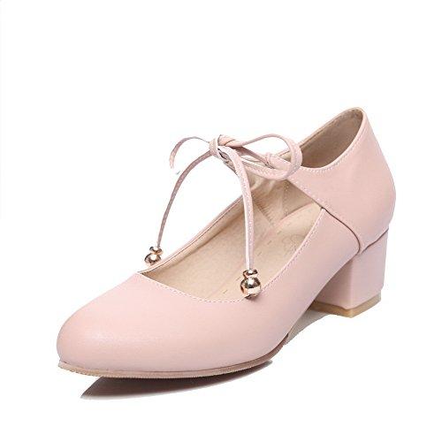 Tacco Donna Allacciare Flats Medio VogueZone009 Luccichio Rosa Ballet 6tqxHHfn7