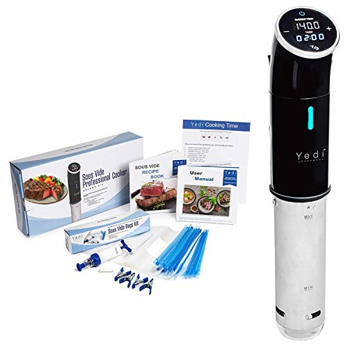 Yedi Total Package Sous Vide Cooker, Deluxe Accessory Kit, Recipe Book, 1000 Watts, 2Yr Warranty