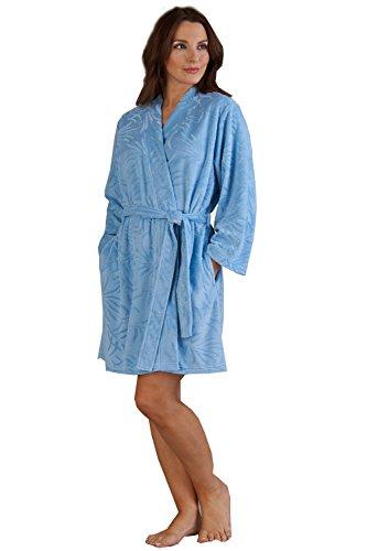 Robe morbido collare pile grande Bath X Slenderella scialle Ladies Blu piccolo vestaglia vestaglia lusso AqXxw40E