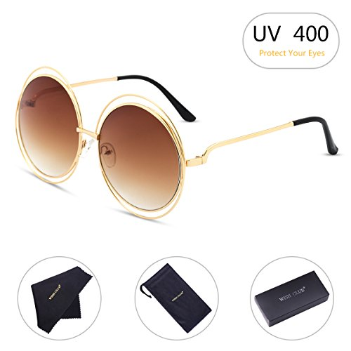 WISH CLUB Oversized Round Fashion Sunglasses for Women Flat Lens Rimmed Eyewear for Girls Womens UV Transparent Glasses - Sunglasses Transparent Round