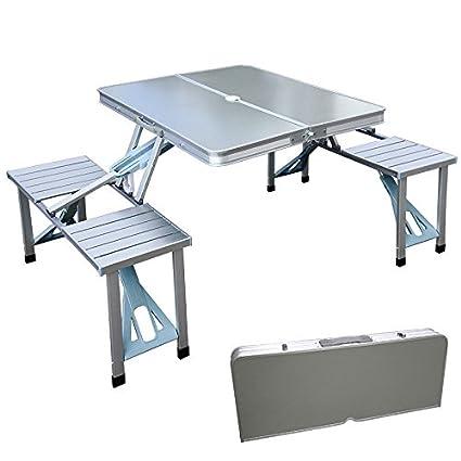 Strange Amazon Com Outdoor Portable Folding Aluminum Picnic Table Creativecarmelina Interior Chair Design Creativecarmelinacom