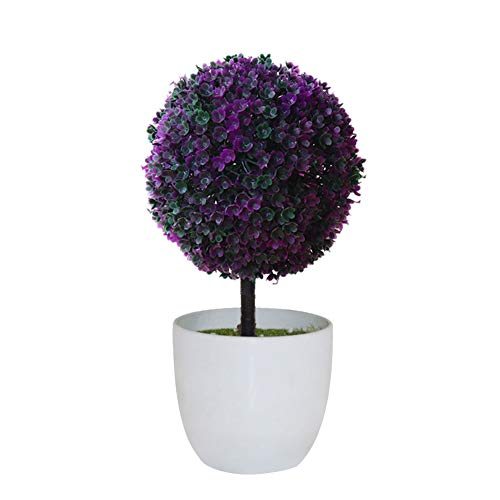 - heaven2017 Artificial Potted Ornament Topiary Greenery Ball Shape Bonsai Fake Plant Home Decoration Rose Red