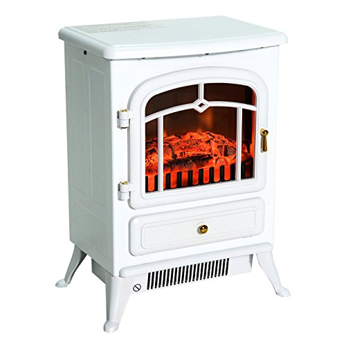 HomCom 16'' 1500W Free Standing Electric Wood Stove Fireplace Heater - White by HOMCOM