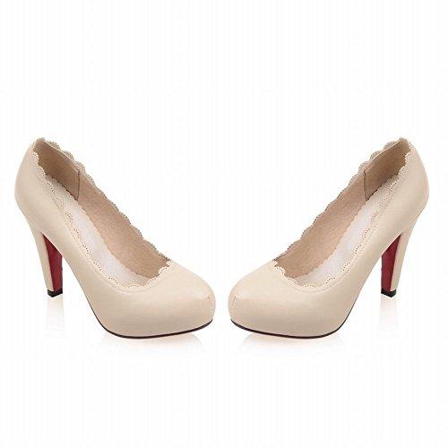Mee Shoes Damen Spitzen innen Plateau runde high heels Pums Beige