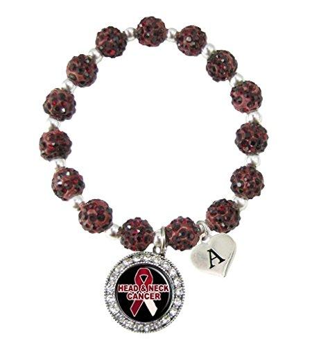Bracelet Custom Head Neck Cancer Awareness Red Bling Bracelet Jewelry Choose Initial