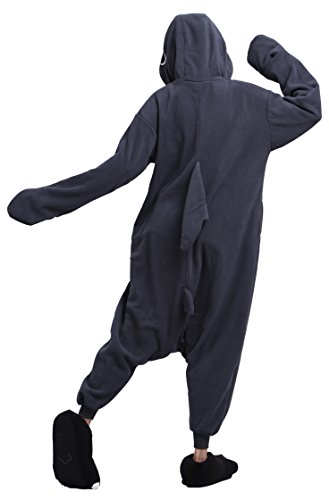 DELEY Unisex Adulti Cartoon Black Shark Kigurumi con Cappuccio Onesie Cosplay Anime Pigiami Pigiameria