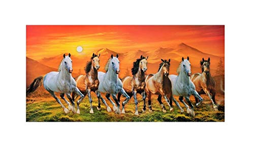 Beautiful 7 Running Horses with Vastu Sunrise Wall Sticker Poster Big Without Frame (24 X 48 Inches) No-Frame (Horses 7 Running)